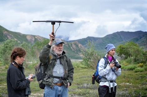 Bridget Borg, Tom Meyer, and myself tracking wolves