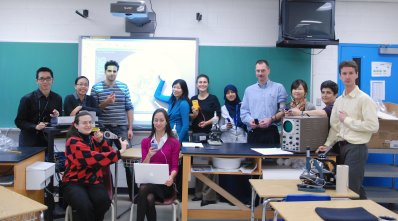 Science Department posing with their gadgets