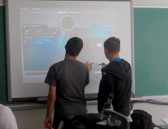 Students using a SmartBoard to perform a virtual plant lab